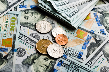 American banknotes and coins photo