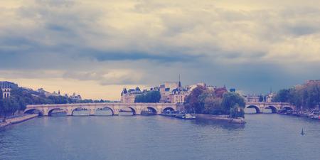 cite: View of island Isle de la Cite. Paris, France filtred image