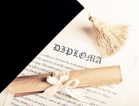 black cap: Graduation hat and Diploma Stock Photo