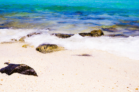 wide  wet: beach with rocks in water Stock Photo