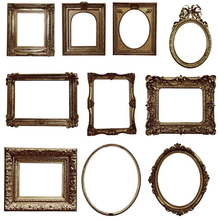 antique gold picture frames: antique wooden frame On white background