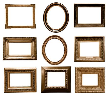 marcos decorativos: antiguo marco de madera en el fondo blanco