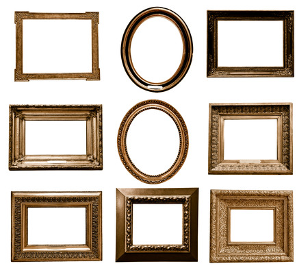 museums: antique wooden frame On white background