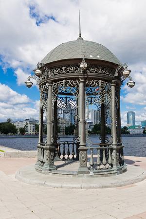 rotunda: Rotunda on the embankment of city pond.Yekaterinburg. Russia Stock Photo