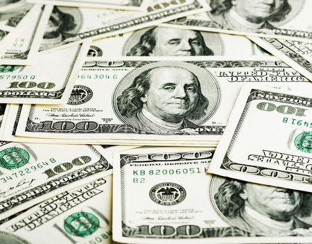 dollar: Sfondo con denaro americano banconote da cento dollari