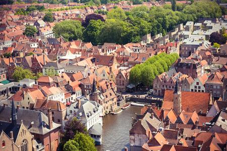 tilt views: Aerial view of Bruges (Brugge) from Belfry, Belgium. Instagram style filtred image Stock Photo