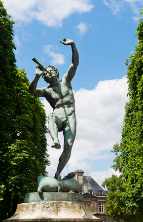 The Faune Dansant (Dancing Faun) statue by sculptor Eugene-Louis Lequesne (1950) in Pariss Jardin du Luxembourg Stock Photo