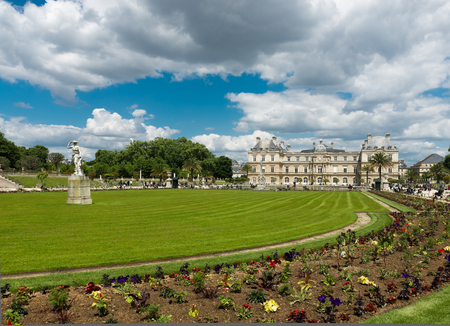 garden statuary: The beautiful view of the Luxembourg Gardens in Paris, France