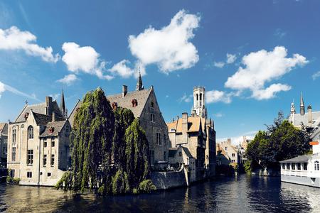 belfort: medieval houses, Rozenhoedkaai in Brugge, Dijver river canal and Belfort (Belfry) tower, West Flanders