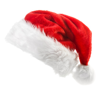 isolated  on white: Santa Claus red hat isolated on white background Stock Photo