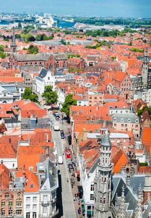 bruges: Aerial view of Bruges (Brugge) from Belfry, Belgium