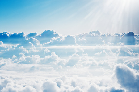 fluffy: Aerial view on white fluffy clouds Stock Photo