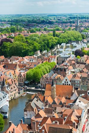tilt views: Aerial view of Bruges (Brugge) from Belfry, Belgium