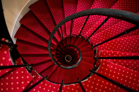 stairway to heaven: Upside view of a spiral staircase Stock Photo