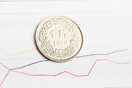 franc suisse: One Swiss Franc coin on fluctuating graph. Rate of the Swiss Franc (shallow DOF)