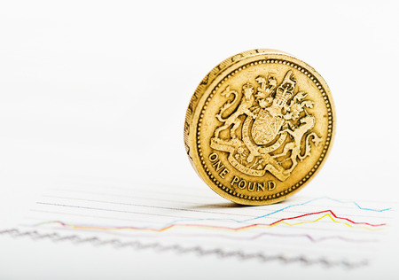 pound coins: One pound coin on fluctuating graph. Rate of the pound sterling (shallow DOF)