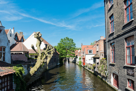 travelled: canal and old houses in Bruges (Brugge), Belgium Stock Photo