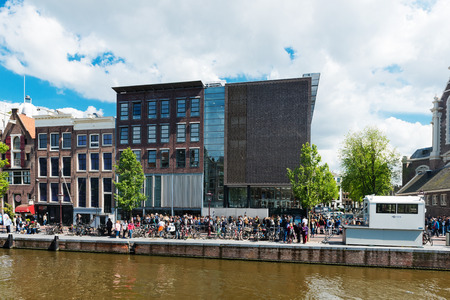 holocaust: AMSTERDAM, NETHERLANDS - JUNE 01, 2015: : Anne Frank house and holocaust museum in Amsterdam, the Netherlands. Anne Frank house is a popular tourist destination