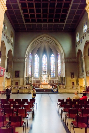 LUXEMBOURG, LUXEMBOURG - MAY26, 2015:  Interior Notre-Dame Cathedral. Grand Duchy of Luxembourg. It was originally a Jesuit church, and its cornerstone was laid in 1613. Editorial