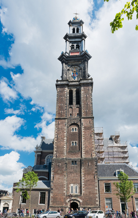 westerkerk: AMSTERDAM, NETHERLANDS - JUNE 01, 2015: Westerkerk church in Amsterdam, Netherlands. Amsterdam is the capital city and most populous city of the Kingdom of the Netherlands.