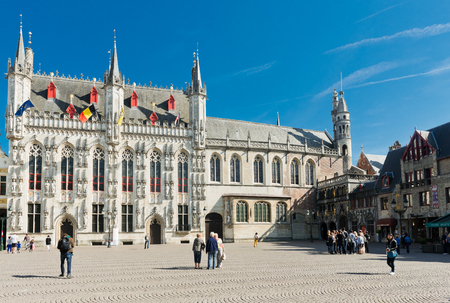 flanders: Bruges, Belgium - MAY 27, 2015: Provincial Palace in Market Square. Bruges. West Flanders. Belgium