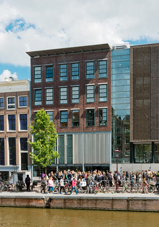 anne: AMSTERDAM, NETHERLANDS - JUNE 01, 2015: : Anne Frank house and holocaust museum in Amsterdam, the Netherlands. Anne Frank house is a popular tourist destination