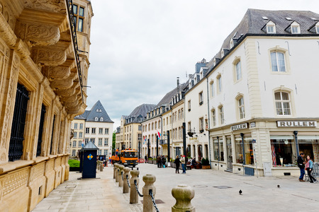 duke: LUXEMBOURG, LUXEMBOURG - MAY26, 2015: street nea rGrand Ducal Palace in Luxembourg. It is the official residence of the Grand Duke of Luxembourg, built in 1572.