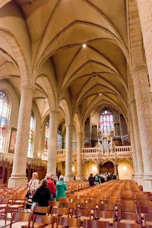 cornerstone: LUXEMBOURG, LUXEMBOURG - MAY26, 2015:  Interior Notre-Dame Cathedral. Grand Duchy of Luxembourg. It was originally a Jesuit church, and its cornerstone was laid in 1613. Editorial