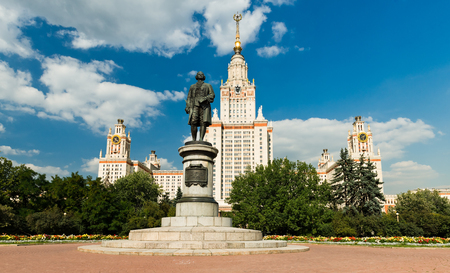 mikhail: Lomonosov monument and main building of Moscow state University