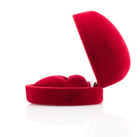 beautyful: Red beautyful jewelry box isolated on white. Stock Photo