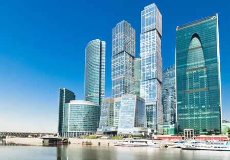 view on new Moscow City buildings Stock Photo