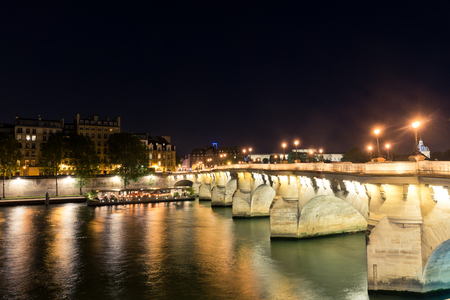 seine: Seine river in Paris at night Stock Photo