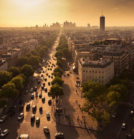 la defense: Paris view from Arc de Trimphe. Above view of Avenue de la Grande Armee in Paris and la Defense district