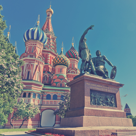 minin: The monument to Minin and Pozharsky in front of the most famous Russian Cathedral on the Red Square in Moscow .