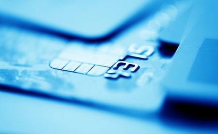 blue  toned: Credit cards. Blue toned Stock Photo