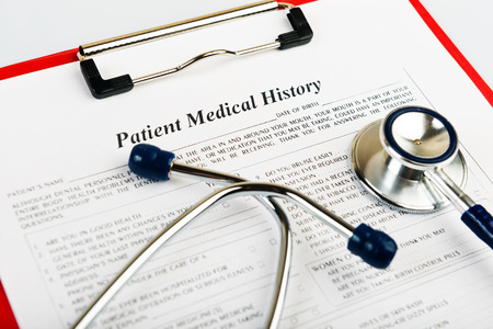 medical history: medical history with stethoscope