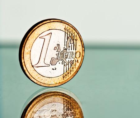 depreciation: One euro coin Stock Photo