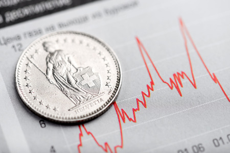 one swiss franc coin on fluctuating graph