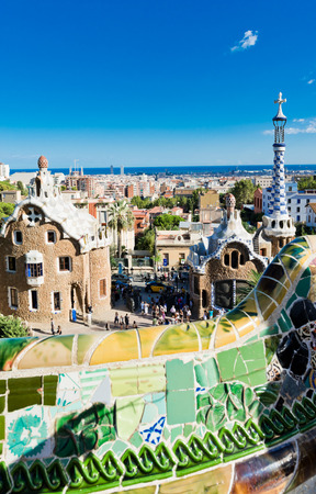 BARCELONA, SPAIN - SEPTEMBER 13, 2012: Park Guell in Barcelona, Spain. It was built in 1900-1914. More than 7 million visitors were in Barcelona in 2012.