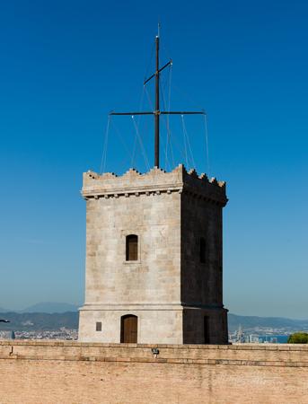 picturesque: Big tower of Castle of Montjuic, Barcelona, Spain