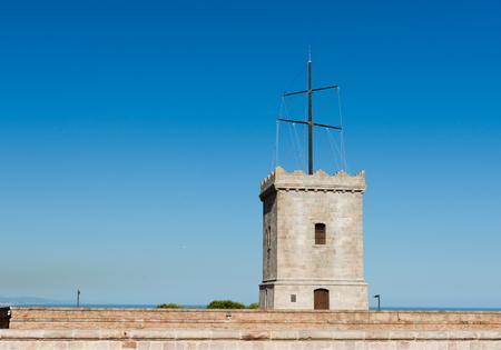 montjuic: Big tower of Castle of Montjuic, Barcelona, Spain