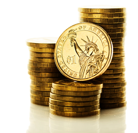 us dollars: dollar coin isolated on white background Stock Photo