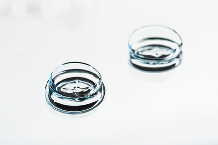 Two contact lenses with reflections 版權商用圖片