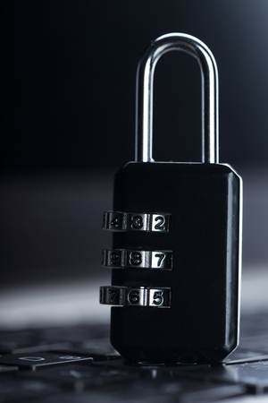 privacy cyber internet security. Lock on the laptop