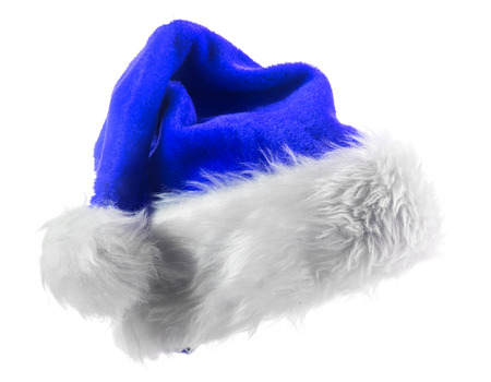 Santa Claus blue hat isolated on white background 版權商用圖片
