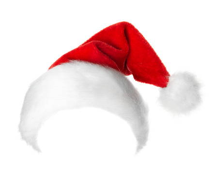 Santa Claus red hat isolated on white background 版權商用圖片