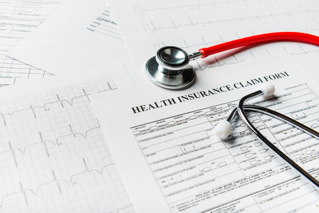 Health insurance form with stethoscope concept for life planning Banque d'images