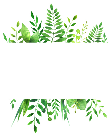 Watercolor frame of leaves. Concept of the nature for the design of invitations, greeting cards and wallpapers. Reklamní fotografie