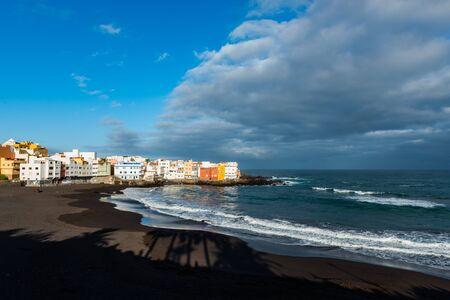 Empty Beach Playa Jardin in the early morning in Puerto de la Cruz. Tenerife