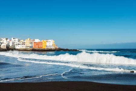 View of colourful houses of Punta Brava from beach in Puerto de la Cruz, Tenerife, Canary Islands, Spain Фото со стока